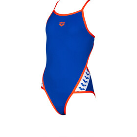 arena Team Stripe Super Fly Back One Piece Swimsuit Girls, neon blue/nectarine